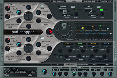 Filterscape interface with global modulation and LFO